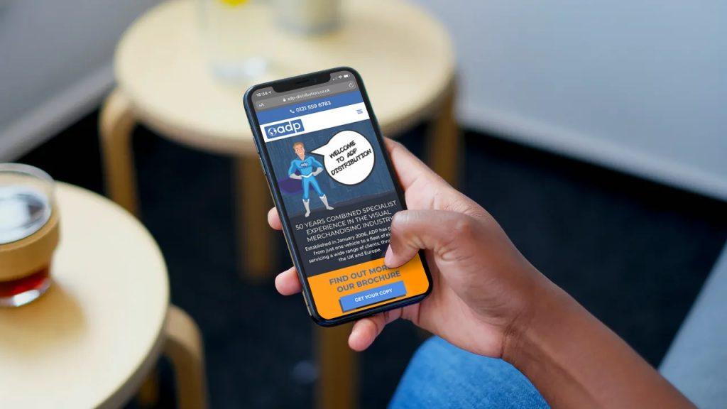 ADP Distribution mobile responsive website on a smartphone